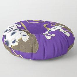 Purple puppy antics   Puppies at play Floor Pillow