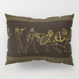 Ancient Sparta  Greece scene on greek pattern Pillow Sham