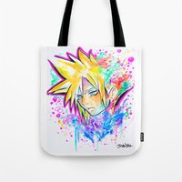 playstation Tote Bags featuring Original - CLOUD STRIFE - Watercolor Painting - Playstation by Jonny Clingan