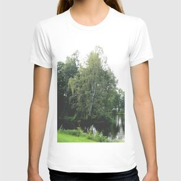 Large white birch on the shore of a reservoir with a dangling leaf crone T-shirt