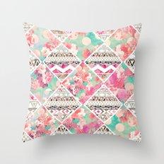 Aztec Floral  Diamond Throw Pillow