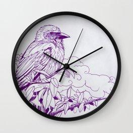Purple Ink Bird Wall Clock