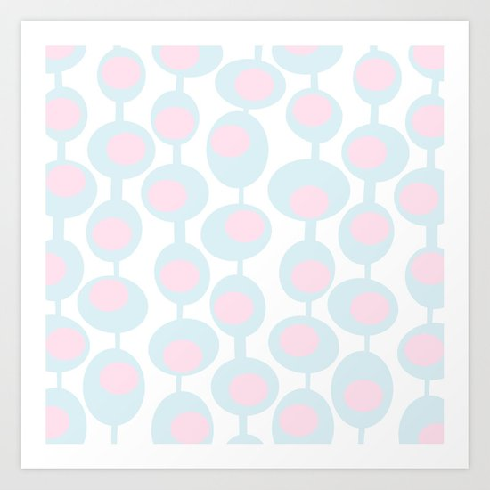 abstract 60ies circles and dots pattern in pink, white and aqua Art Print