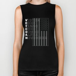 Military Alphabet Veteran in White With American Flag Biker Tank