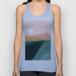 pink, green, gold moon watercolor mountains Unisex Tank Top