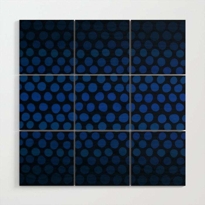 Slate Blue And Black Dots Ombre Wood Wall Art By Abstractcolor