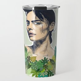 tropical beauty // the girl with the jungle leaf shirt Travel Mug