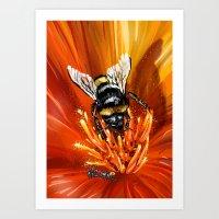 Bee on flower 1 Art Print