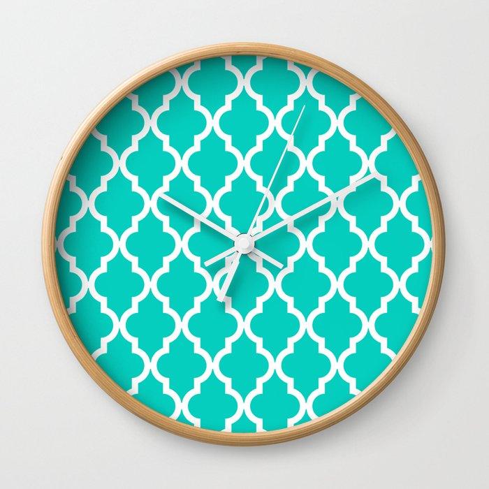 Aqua Moroccan Quatrefoil Pattern Wall Clock