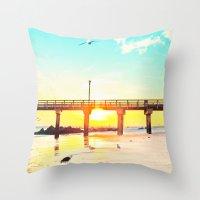 boardwalk empire Throw Pillows featuring Boardwalk by Mina Teslaru