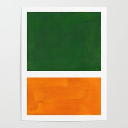 Forest Green Yellow Ochre Mid Century Modern Abstract Minimalist Rothko Color Field Squares Poster