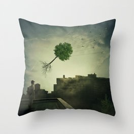 Greening of the foggy town Throw Pillow