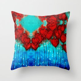 Hearts On Fire Patterns - Romantic Art By Sharon Cummings Throw Pillow
