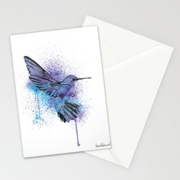 Humming bird watercolor blue and purple Stationery Cards