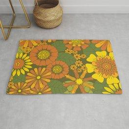 Orange, Brown, Yellow and Green Retro Daisy Pattern Rug