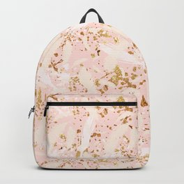 Feather peacock peach gold #6 Backpack