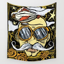 OLD MAN BLIMPSTACHE LINOCUT Wall Tapestry