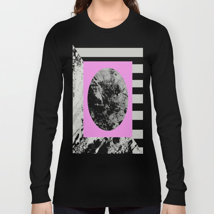 Stripes In Space - Geometric Abstract In Block Pink, Black And White And Black And Grey Stripes Long Sleeve T-shirt