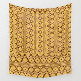 kilim geo in sunny yellow Wall Tapestry
