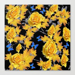 YELLOW ROSES BLUE BUTTERFLIES YELLOW LEAVES ART Canvas Print
