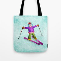 tina Tote Bags featuring Tina Skiing by Tina