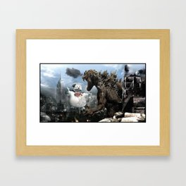 Godzilla versus The Staypuft Marshmallow Man Framed Art Print