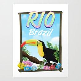 Rio Brazil Toucan travel poster Stationery Art Print
