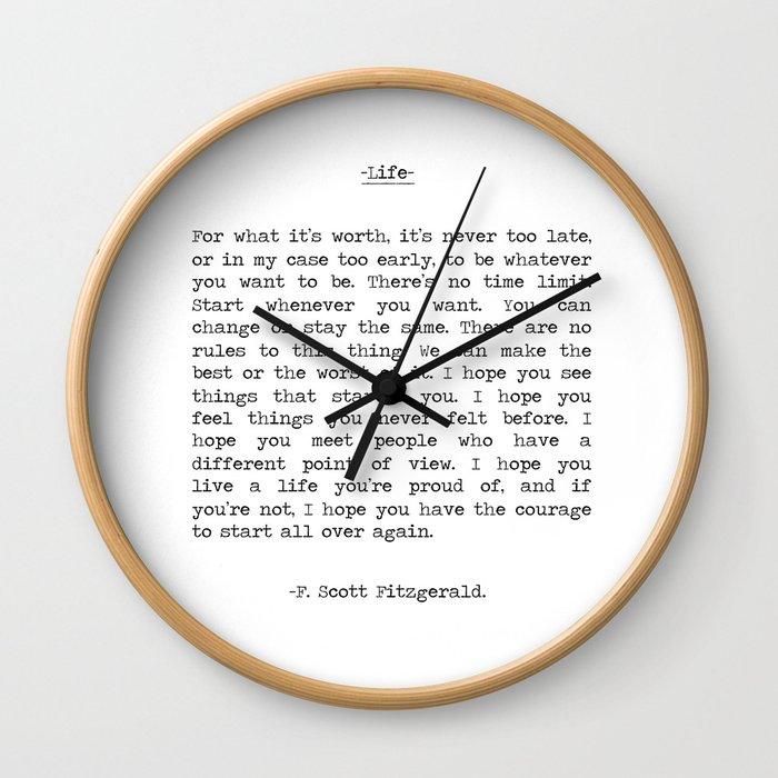 Life quote F. Scott Fitzgerald Wall Clock