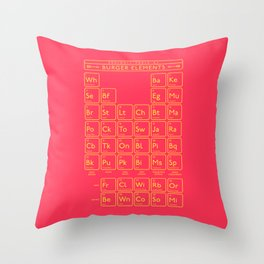Periodic Table of Burger Elements - Red Throw Pillow