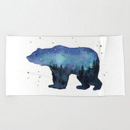 Forest Bear Silhouette Watercolor Galaxy Beach Towel