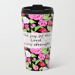 Roses on Black with Scripture Metal Travel Mug