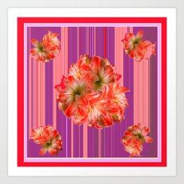 Modern  Red & Purple Flora's Stripes Art Print