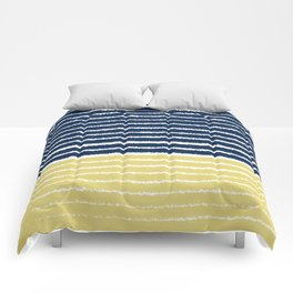Gold and Navy Blue brush Strokes Comforters