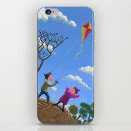 Children on hill flying kite  iPhone Skin