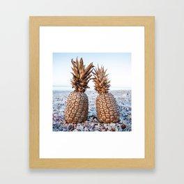 Gold Pineapples Framed Art Print