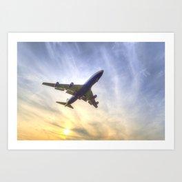 Boeing 747 Sunset  Art Print