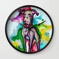 the hound Wall Clocks featuring Hound by AlysIndigo