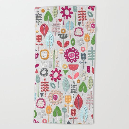 paper cut flowers silver Beach Towel