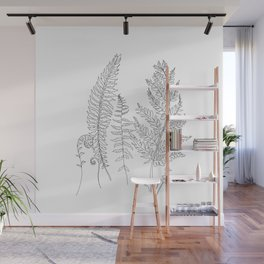 Minimal Line Art Fern Leaves Wall Mural