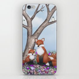 fox, cubs and tufted titmice iPhone Skin