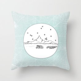 Bora Bora Island, French Polynesia Skyline Illustration Drawing Throw Pillow