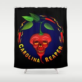 Carolina Reaper Skull Shower Curtain