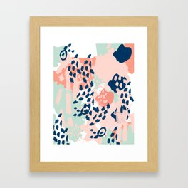 Kylie - abstract mint pastels painting boho trendy simple minimalist canvas home decor Framed Art Print