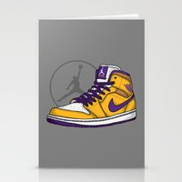 lakers Stationery Cards featuring Jordan 1 mid (LA Lakers) by Pancho the Macho