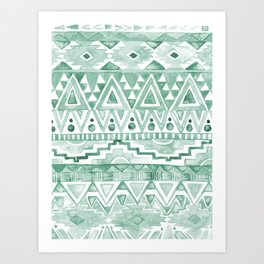 Watercolor Aztec Pattern Green Art Print