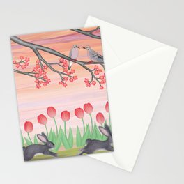 bunnies, tulips, and mourning doves Stationery Cards