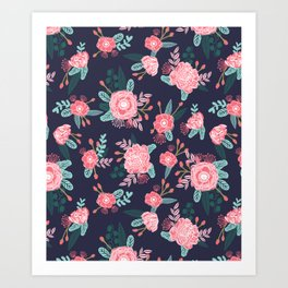 Peony floral bouquet navy pink bright happy flowers dorm college office decor must have pattern Art Print