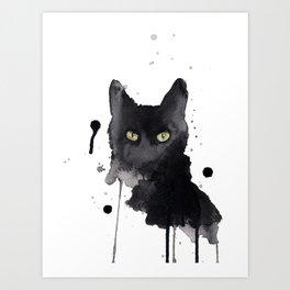 Black cat watercolor Art Print
