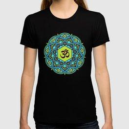 Multicolor New Age Zen Yoga Ohm Om Lover Mandala Spiral T-shirt