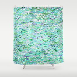 Marble Mosaic in Mint Quartz and Jade Shower Curtain